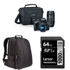 Canon EOS Rebel T6 Digital SLR Camera Kit with EF-S 18-55mm and EF 75-300mm Lenses  AmazonBasics DSLR Bag and 64 GB Lexar Memory Card