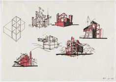Bernard Tschumi. Parc de la Villette, Paris, France, Exterior perspectives, sketch. 1983