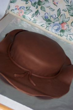 Cowboy hat cake for son's cowboy birthday party. First fondant cake I ever made