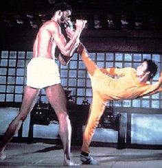 Game of Death starring Bruce Lee, co-star Kareem Abdul Jabar (Los Angeles Lakers center)