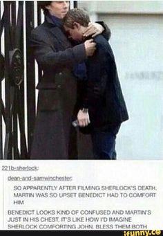 """How I imagine Sherlock comforting John."" And then the lying detective happened."