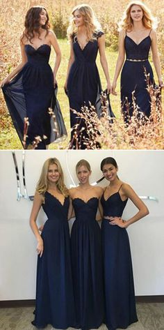 Bridesmaid Dresses,Cheap Bridesmaid Gowns,Bridesmaid Dresses on Line,Navy Blue A Line Floor-Length Cheap Bridesmaid Dresses,New Arrival Decent Lace Chiffon Dress,SVD470