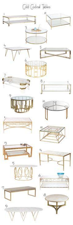 1. Harrison Coffee Table 2. Quadro Gold Leaf Square Coffee Table 3. Rollo Round Gold Coffee Table 4. Neal Gold Leaf and White Marble Coffee Table 5. Large Romeo Rega Italian Coffee Table 6. Jenny G...