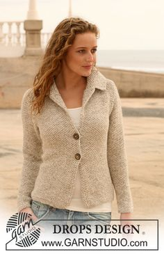 Drops Pattern 112- 4, Jacket in seed st in Alpaca with collar