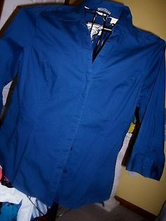 LADIES-SZ-XL-SLIMMING-BLOUSE-NAVY-RIDERS-BUTTON-FRNT-TAPERED-WAIST-SHIRT-BO pd $11.07
