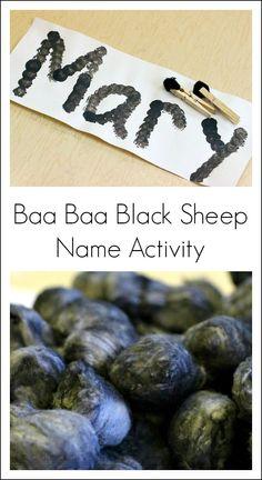 "Name activity for the nursery rhyme ""Baa Baa Black Sheep""!"