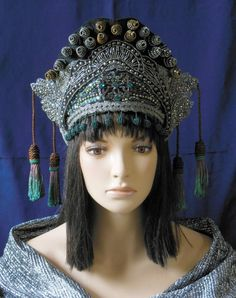 Silver & Gold Fantasy Chinese Asian Avant Garde Tibetan Bohemian Medieval Morroccan Queen Princess Crown Headdress Headpiece Hat $495