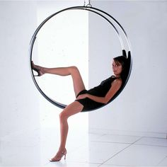 Futuristic Stainless Steel Rings Hanging Zed Chair