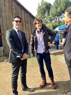 "Thomas Gibson, Matthew Gray Gubler, and Joe Montagna from Criminal Minds.  Matthew directing ""Blood Relations"""