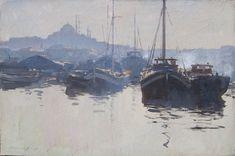 Fishing Boats on the Golden Horn - Edward Seago - Portland Gallery Watercolor Landscape, Landscape Art, Landscape Paintings, Watercolor Paintings, Watercolours, Landscapes, Boat Painting, English Artists, Nautical Art
