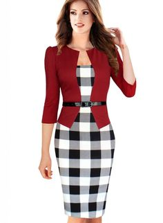 VfEmage Women's Belted Patchwork Tunic Wear To Work Pencil Sheath Bodycon Dress for $29.99. Amazing price for this outfit<3 http://www.amazon.com/gp/product/B00RFHCNEC/ref=as_li_qf_sp_asin_il_tl?ie=UTF8&camp=1789&creative=9325&creativeASIN=B00RFHCNEC&linkCode=as2&tag=cheaphighfash-20&linkId=D5VWLBNW7ACS4UPU