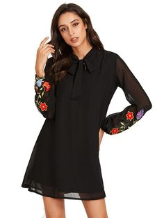 SHEIN Bow Tie Neck Flower Embroidered Dress Autumn Womens Dresses Black Band Collar Long Sleeve Elegant A Line Dresses Fall Dresses, Elegant Dresses, Casual Dresses, Casual Wear, Spring Outfits Women Casual, Women Bow Tie, Latest Dress, Women's Fashion Dresses, Woman Dresses