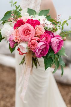 Pink rose and peony bridal bouquet | Brittany and Devin Photo Co. | see more on: http://burnettsboards.com/2015/03/north-michigan-wedding-water/