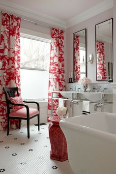 Classic bathroom with pops of red and black - garden stool, chinoiserie curtains, his-and-hers sinks, great tile floors - Tommy Smythe and Sarah Richardson