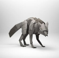 3d origami Wolf by Jeremy Kool