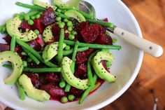 Beet and Blanched Veggie Salad with Avocado and Black Sesame Seeds