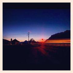 """@suesskindsgd's photo: """"#rail#rhätische#bahn#graubünden#graubuenden#abend#blau#reisen#bahnübergang#malans#switzerland#schweiz#switzerland"""""""