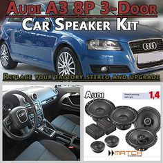 Audi A3 8P 3-door car speakers upgrade kit for front and rear side panel - Car Hifi Radio Adapter.eu Audi A3 8P 3-door hatchback 2003-2013 front and rear side panel car speaker upgrade kit