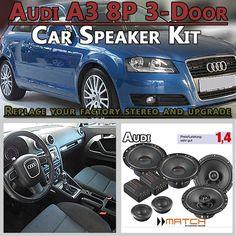 Audi A3 8P 3-door car speakers upgrade kit for front and rear side panel - Car Hifi Radio Adapter.eu Audi A3 8P 3-door hatchback 2003-2013 front and rear side panel car speaker upgrade kit