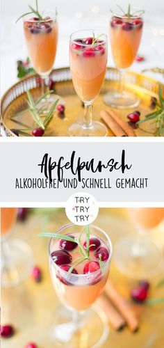 Alkoholfreier Apfelpunsch / Leckeres Getränk für Weihnachten, Silvester oder a… Non-alcoholic apple punch / Delicious drink for Christmas, New Year's Eve or other celebrations and parties / Recipe for drink without alcohol with apple Drink Recipes Nonalcoholic, Non Alcoholic Drinks, Yummy Drinks, Cocktail Recipes, Yummy Food, Healthy Cocktails, Drink Party, Drink Menu, Food And Drink