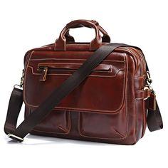 "Image of Handmade Genuine Leather Briefcase Messenger Bag 14""15"" MacBook Bag Travel Bag--FREE SHIPPING"