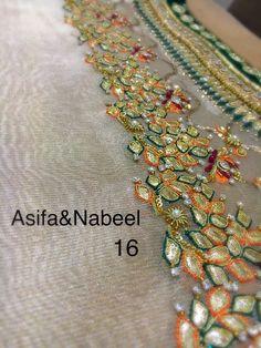 Asifa&Nabeel Zardozi Embroidery, Embroidery On Kurtis, Kurti Embroidery Design, Hand Work Embroidery, Hand Embroidery Designs, Embroidery Patterns, Mehndi Dress, Pakistani Wedding Outfits, Stylish Dress Designs