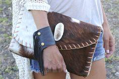 "Jessica wears #heathergardner 3"" Black Cali Fringe Cuff with a custom Emily Rosendahl Leather Goods clutch"