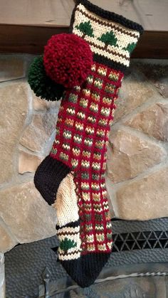 Old Fashioned Hand Knit Christmas Stocking Red Green Linen ...