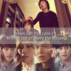 Boys Over Flowers (2009) 25 episodes. Female lead Ku Hye-sun and 4 male leads: Lee Min-ho, Kim Hyun-joong, Kim Bum, Kim Joon. I like this one