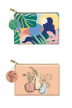 """ZIPPERED POUCHES by Molly & Rex Faux leather bag has a polyester lining and a custom Molly & Rex zipper pull. 8"""" x 5.5"""" Zipper Pulls, Zipper Pouch, Pouches, Leather Bag, Fabric, How To Make, Fun, Gifts, Bags"""