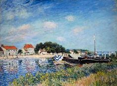 Alfred Sisley - On the bank of the river Loing in SaintMammès.