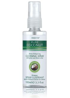 Inecto Pure Coconut Oil Glossing Spray.  I've used this product everyday for about 5 years. I spray it on very generously since it's so inexpensive.. about $6-$7 for 100ml. I use it before blow dry, before heat tools and after for a glossy finish. Adds incredible shine & keeps hair super healthy & saturated with natural oils. *Paraben Free!