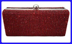 Dazzling Evening Bag Crystal Hard Case Clutch Handbag Purse for Women with Detachable Chain, Red - Evening bags (*Amazon Partner-Link)