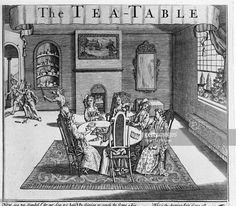 Titled 'The Tea-Table,' this print shows a group of woman talking at a table while a figure representing 'Scandal' chases a pair of figures representing 'Truth' out of the room, early 1700s.