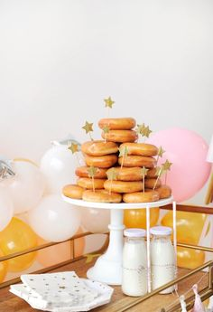 Project Nursery - New Year's Eve Party for Kids - gold and sparkle party inspiration donut tower New Year's Eve Party Themes, Holiday Themes, Birthday Party Themes, Party Ideas, Donut Tower, Sparkle Party, Donut Party, Disco Party, Balloon Garland