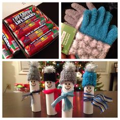 Lifesavers, paper, tip of glove, pompom and a little ribbon for a scarf :) snowmen