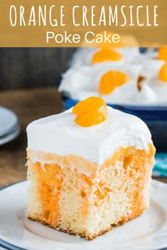 Whip up the perfect BBQ dessert with this Orange Creamsicle Poke Cake!, Whip up the perfect BBQ dessert with this Orange Creamsicle Poke Cake! Orange gelatin combines with white cake, vanilla pudding, mandarin oranges and . Bbq Desserts, Best Dessert Recipes, Summer Desserts, Cookie Recipes, Delicious Desserts, Drink Recipes, Diabetic Desserts, Sweet Desserts, Vegan Recipes