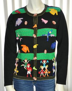 Jack B Quick Sweater Football Cheerleader Size Small S Novelty Embellished Cheer