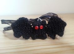 Hand Knitted Black Bat Necklace £6.50