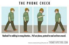 The awkward phone check…