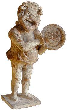Figurine wearing mask Santa Maria, Theater Masks, Ancient Greek Theatre, Romans 2, Roman Theatre, Terracota, Minoan, Greek Art, Art Object
