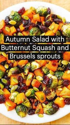 Autumn Salad with Butternut Squash, Brussels sprouts, Cranberries, and Pumpkin Seeds   Pinterest