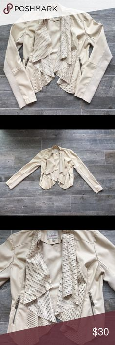 Size M BKE Leather Jacket Size M off-white BKE faux leather jacket. Never worn, but tags have been removed. Great condition! Buckle Jackets & Coats