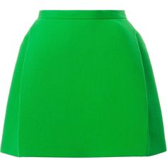 Delpozo Structured Mini Skirt (£685) ❤ liked on Polyvore featuring skirts, mini skirts, delpozo, green, short green skirt, short mini skirts, short skirts, mini skirt and green skirt