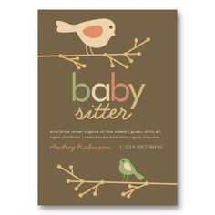 Mod Birds Baby Sitter Business Card