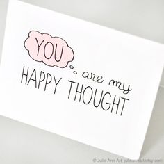 Sweet Valentines Day Card You're My Happy Thought by JulieAnnArt, $4.00
