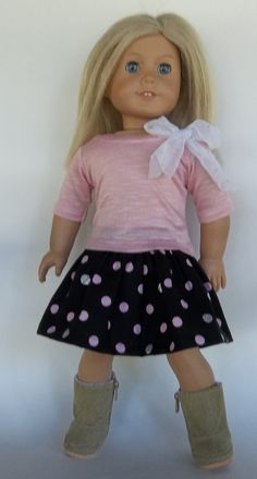 18 in doll clothes POLKA DOT SKIRT Top with by GoodGollyMsDolly