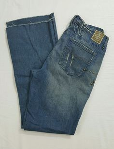 Z. Cavaricci Embellished Beaded Distressed Blue Denim Boot Cut Jeans Size 10 #ZCavaricci #BootCut