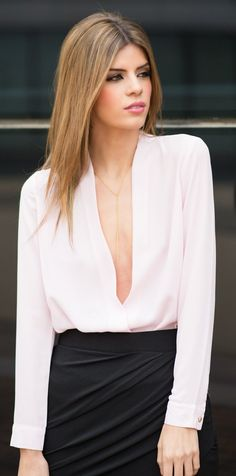 Light Pink Plunging V-neck Blouse by Ms Treinta