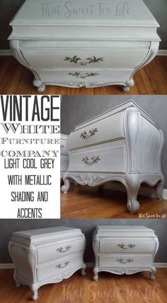 Classic, timeless and elegant these beautiful grey and white vintage nightstands are definitely some of my favorites. Find out how I created the look and  breathed new live into these nightstands here! Looking to create your own diy white painted furniture, use the techniques and tools you will find her to create your own classic, timeles vintage diy painted furniture piece! #diy #paintedfurniture #diyhomedecor #paint